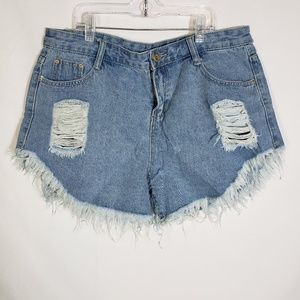 Haola High Waist Shorts Frayed Ripped Distressed